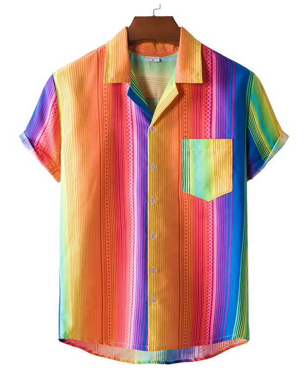 Multicolor Striped Short Sleeve Button-up Shirts