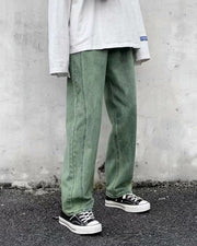 Solid Color Baggy Straight Jean Pants
