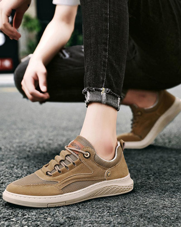 Solid Lace-up Flat Mesh Hiking Sneakers