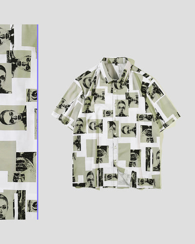 Figure Print Short Sleeve Button-up Shirts