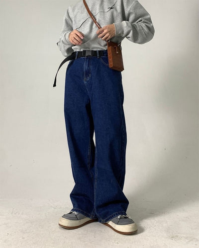 Solid Color Straight Baggy Mopping Jean Pants