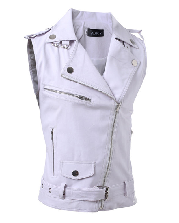 Solid Sleeveless Zip-up Pu Coats Vest