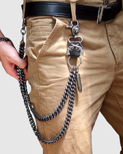 Punk Skull&Ox Horn Metal Pants Chain