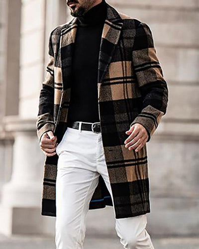 Plaid Color Block Long Sleeve Coat