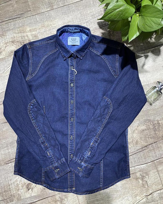 Solid Long Sleeve Loose Button-down Denim Shirts