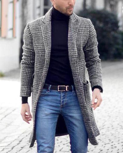 Plaid Printing Long Sleeve Long Coat