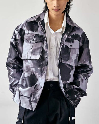 Tie Dye Long Sleeve Pockets Button-up Jackets