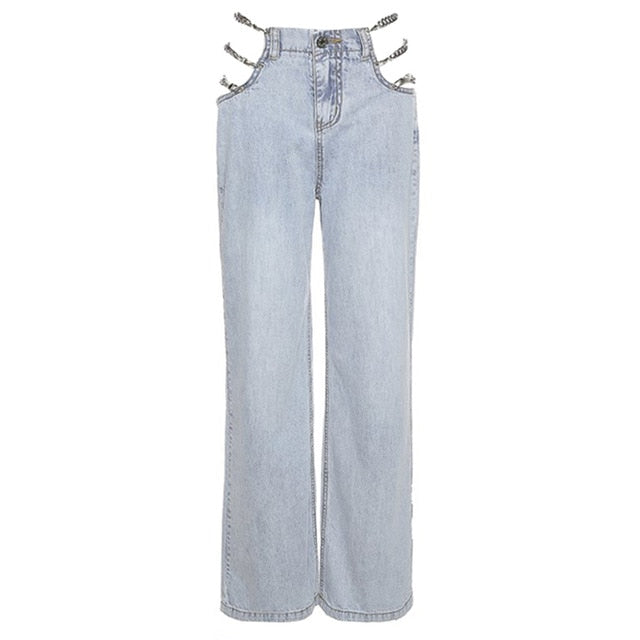 DENIM JEANS WITH SIDE CHAIN
