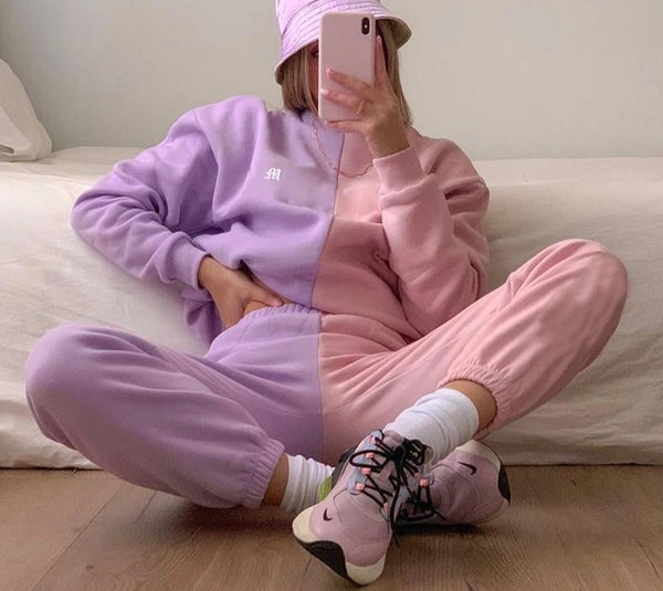 TWO PIECES PATCHWORK TRACKSUIT
