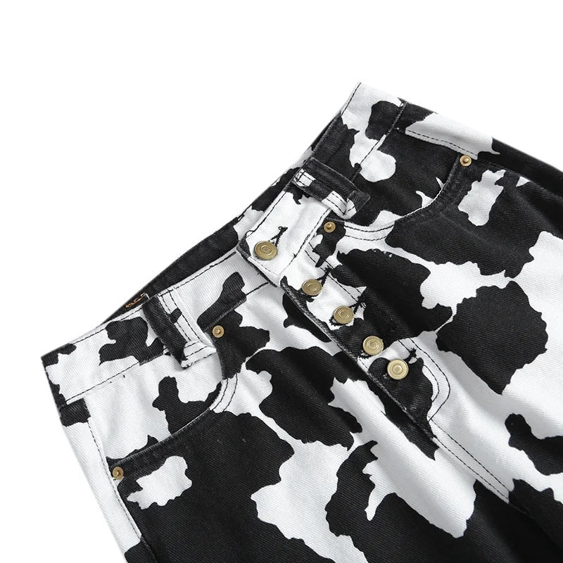 HIGH WAIST COW PRINT TROUSERS