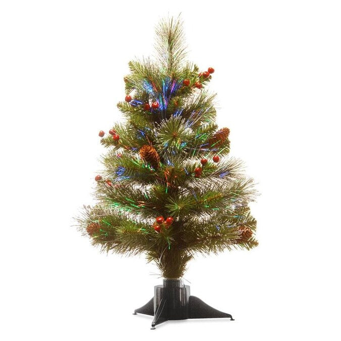 National Tree Company - 2' Fiber Optic Ice Crestwood Small Tree with Silver Bristle, 8 Cones,8 Red Berries Glitter in Green Base- Battery Op