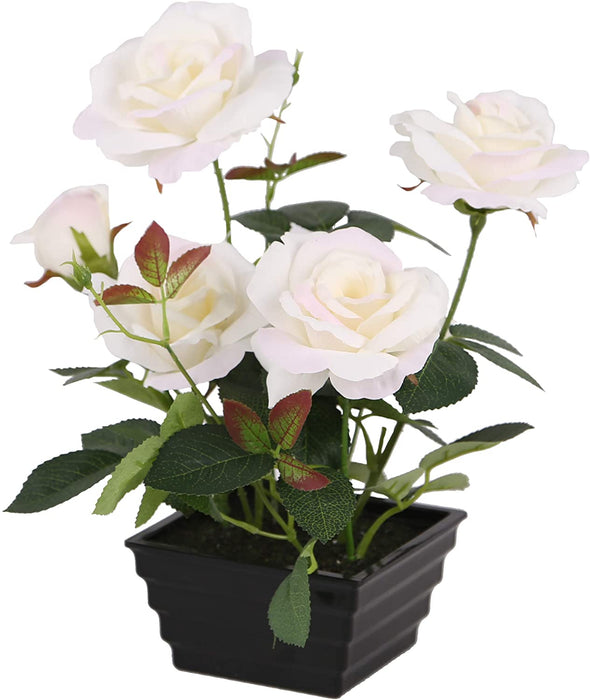 "Home / Room Decor 11"" 6 White Flower Rose Heads in Plastic Pot - Holiday-Outfitters"