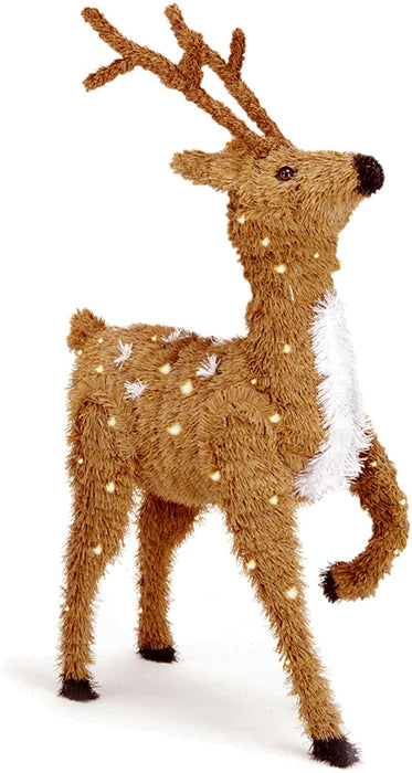 National Tree Company - 36in. Creative Images Brown Prancing Reindeer with Spots and 150 Clear Lights