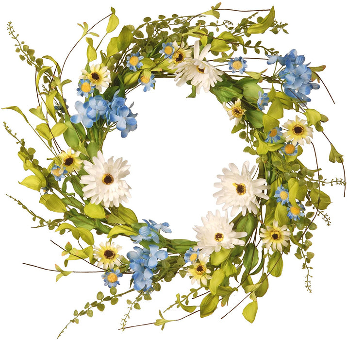 "20"" Floral Wreath Decor- White & Blue Hydrange/Gerber Flowers - Holiday-Outfitters"