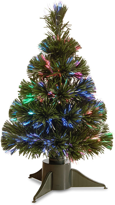 "National Tree Company - 18"" Fiber Optic Ice Tree with with Green Base-Battery Operated w/Timer"