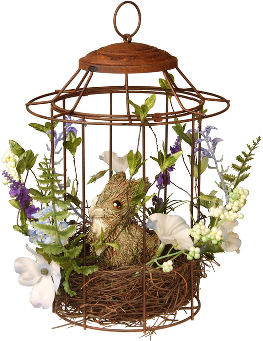 "12"" Easter Bird cage with Rabbit - Holiday-Outfitters"