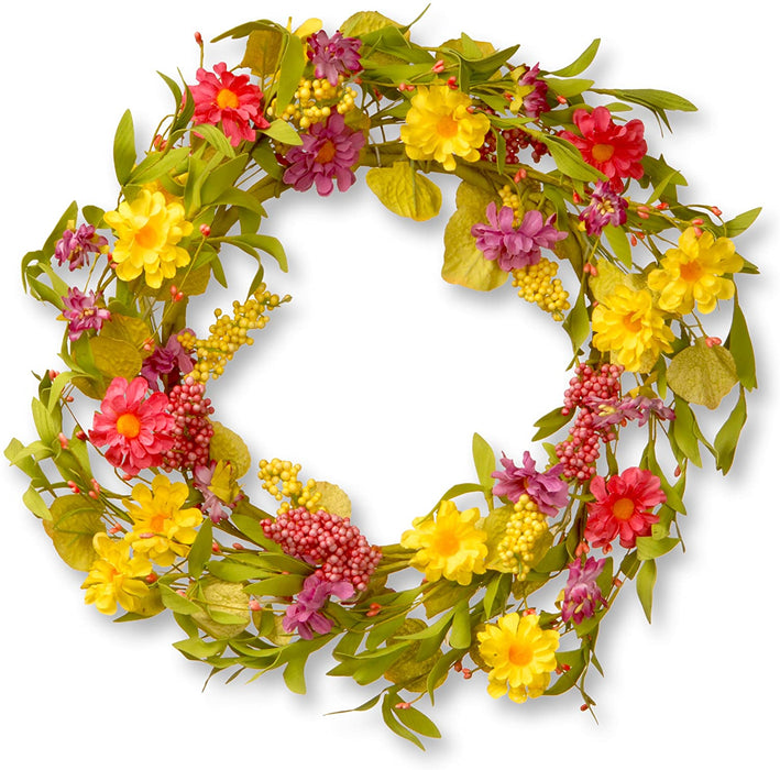 "20"" Multi Daisy Wreath - Holiday-Outfitters"