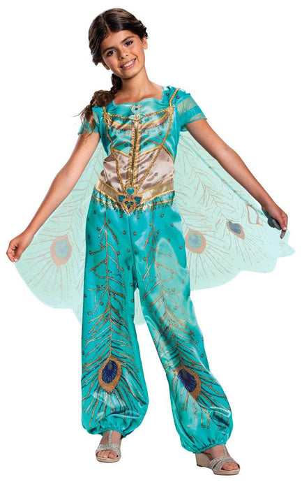 Girl's Jasmine Teal Classic Costume - Aladdin Live Action - Holiday-Outfitters