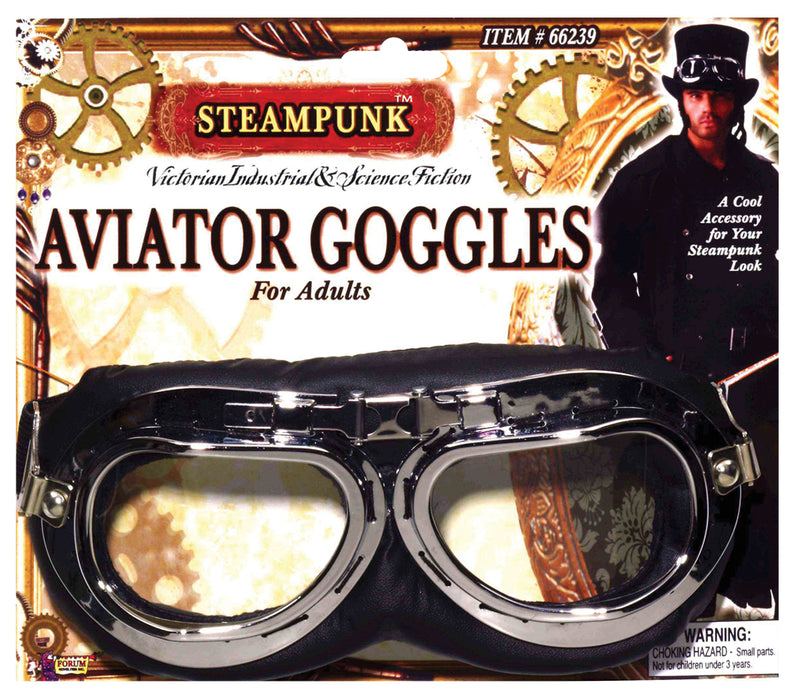 Steampunk Aviator Goggles-Black