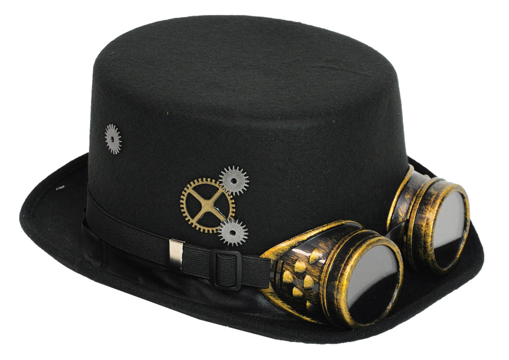 Steampunk Hat Black W/Goggles