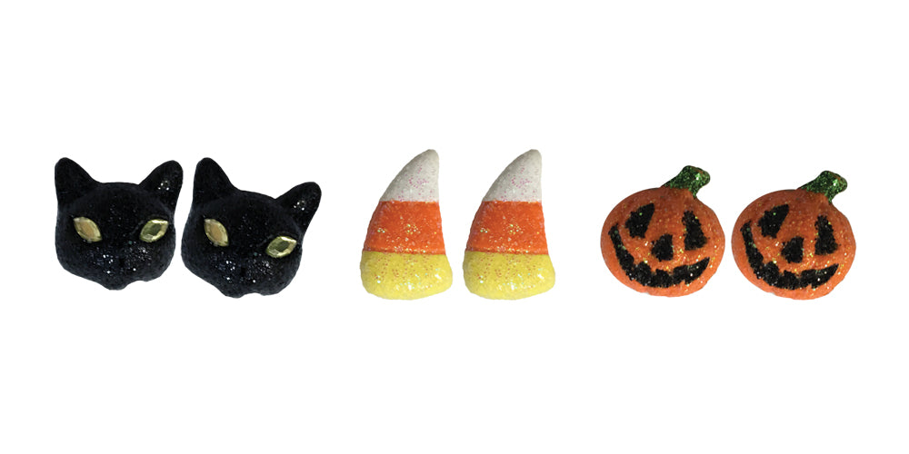Candy Corn Pumpkin Earrings - 3 Pairs