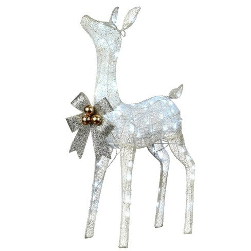 "National Tree Company - 36"" Glittered Fawn with 70 Cool White LED Twinkle Lights"
