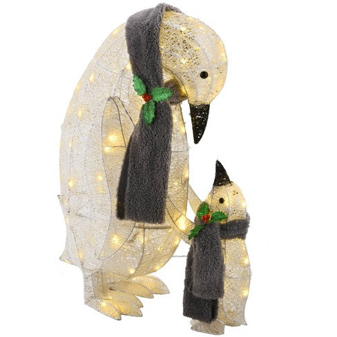 "National Tree Company - 33"" & 18"" Champagne Penguins with Glitter & 50 Warm White LED Lights"