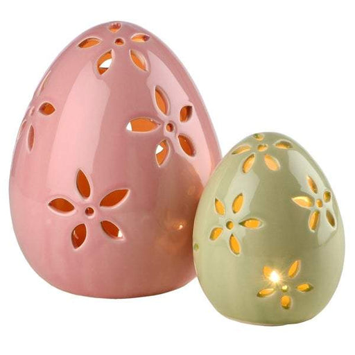 "7"" Pink & 5"" Green Egg Decor with LED Set of 2 - Holiday-Outfitters"