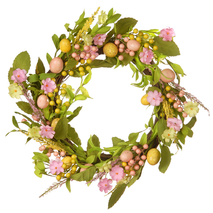 "22"" Decorated Easter Wreath with Eucharis & Eggs-Pack 1/12 Reshippable Inner Box - Holiday-Outfitters"