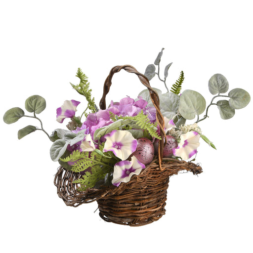 "16"" Spring Basket Decorated w/ Hydrangeas, Petunias & Eggs - Holiday-Outfitters"