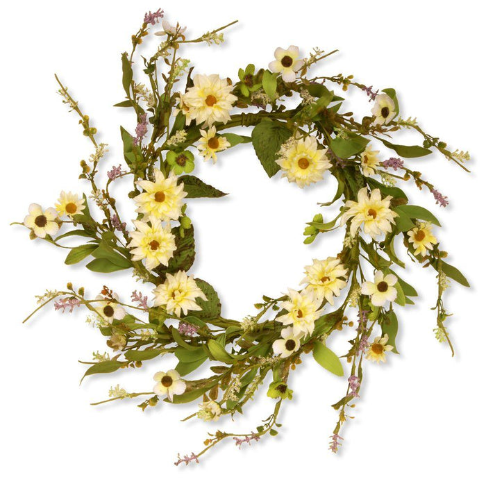 "Garden Accents 20"" Floral Wreath with Daisy- Yellow"