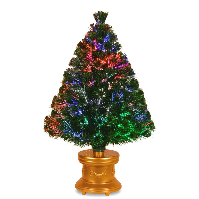 "National Tree Company - 36"" Fiber Optic ""Evergreen"" Firework Tree with Gold Base"