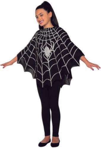 Child Silver Spider Girl Web Vampire Halloween Easy Costume Black Poncho Cape