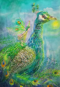A beautiful Peacock jigsaw Puzzle painted by Kay Dawson.