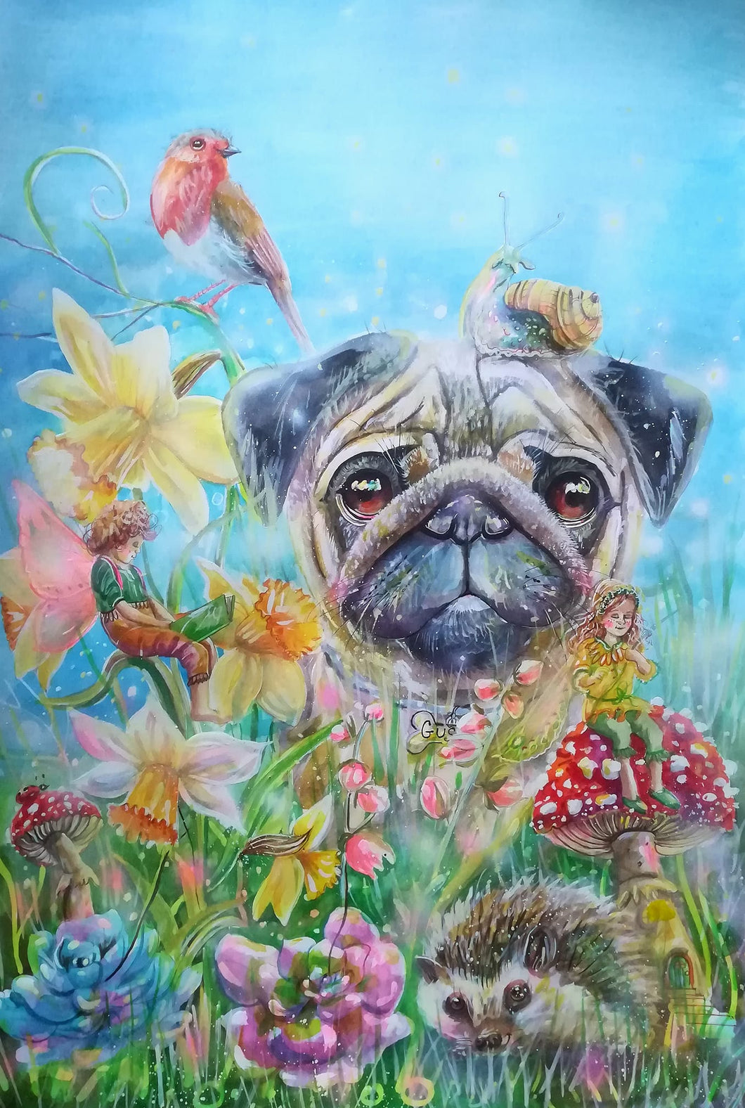 A beautiful pug Jigsaw painted by Kay Dawson