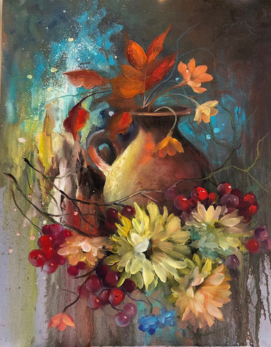 A beautiful floral  jigsaw puzzle painted by Barbara Boeglin
