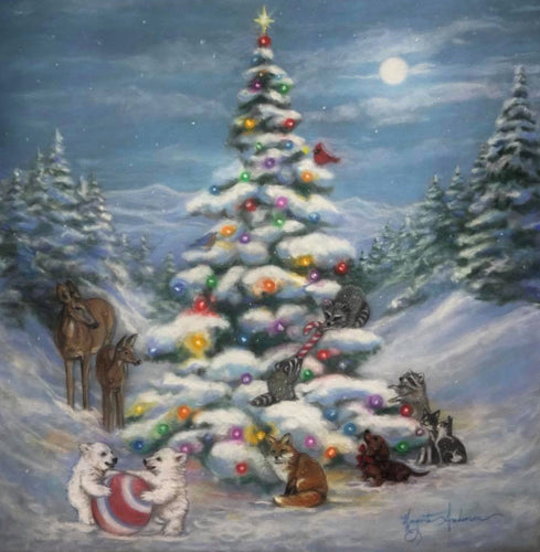Dancing round the christmas tree- a fun jigsaw puzzle painted by Marguerite Anderson