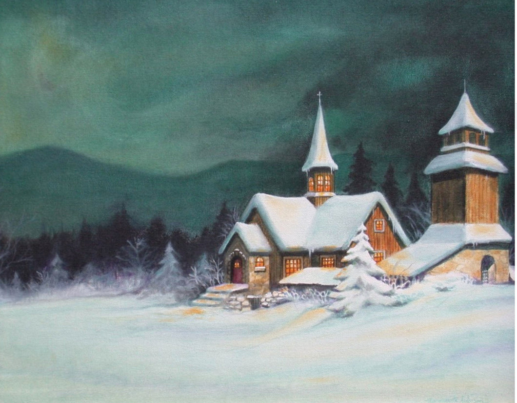 Snowy night jigsaw puzzle painted by Marguerite Anderson