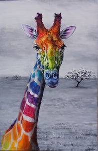 A fun rainbow Giraffe puzzle painted by Yvonne Jack available in many sizes