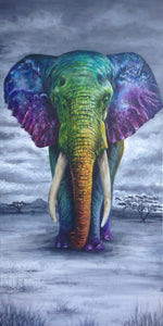 A rainbow elephant jigsaw puzzle- available in various sizes