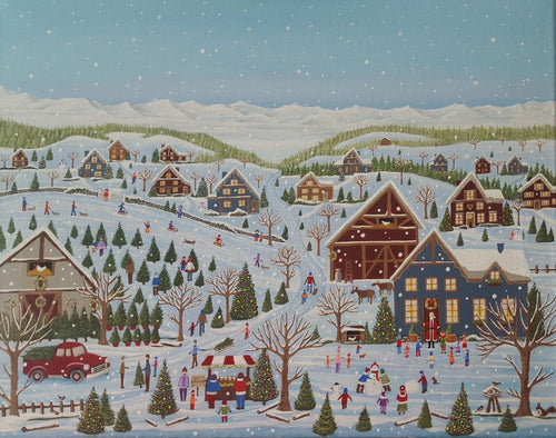a fun christmas folk art themed jigsaw puzzle