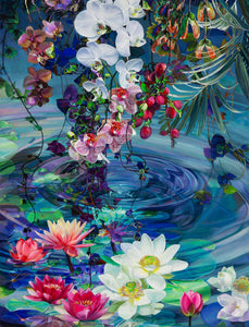 A beautiful lily jigsaw puzzle painted by Sarah Warren