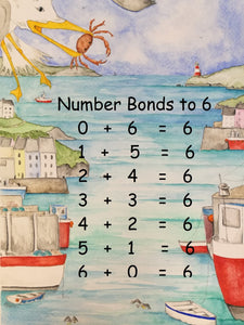 An educational jigsaw puzzle which teaches children how to count to six using number bonds. This jigsaw puzzle design was painted by Katie Hairsine.