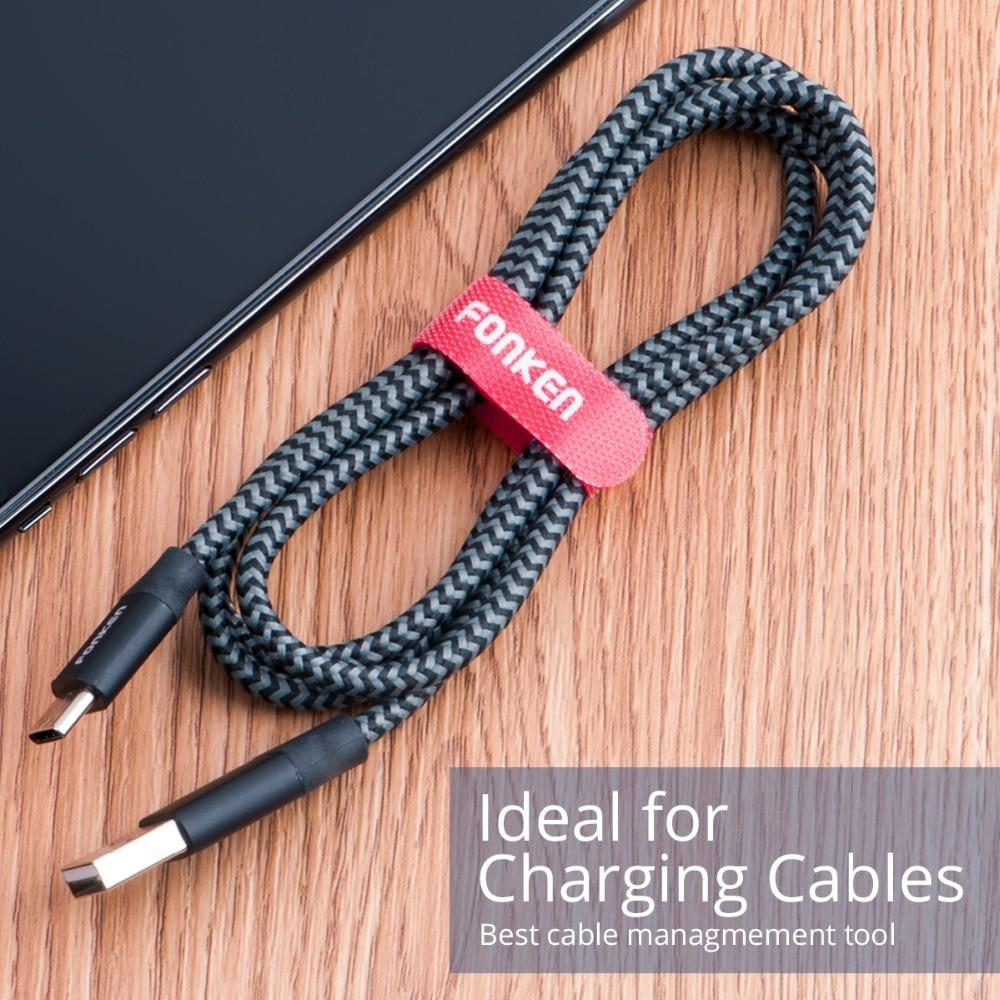 fonken official 20Pcs Cable Organizer Phone Cord  Nylon Hook Loop Fixed Cables