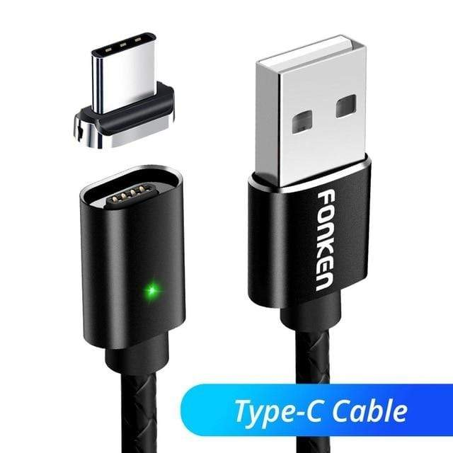 fonken official Black Type C Cable / 2m Magnetic Cable Micro USB C Cable Charging For Phone  Quick Charger Android Data Wires