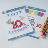 tenth birthday stickers for kids to color