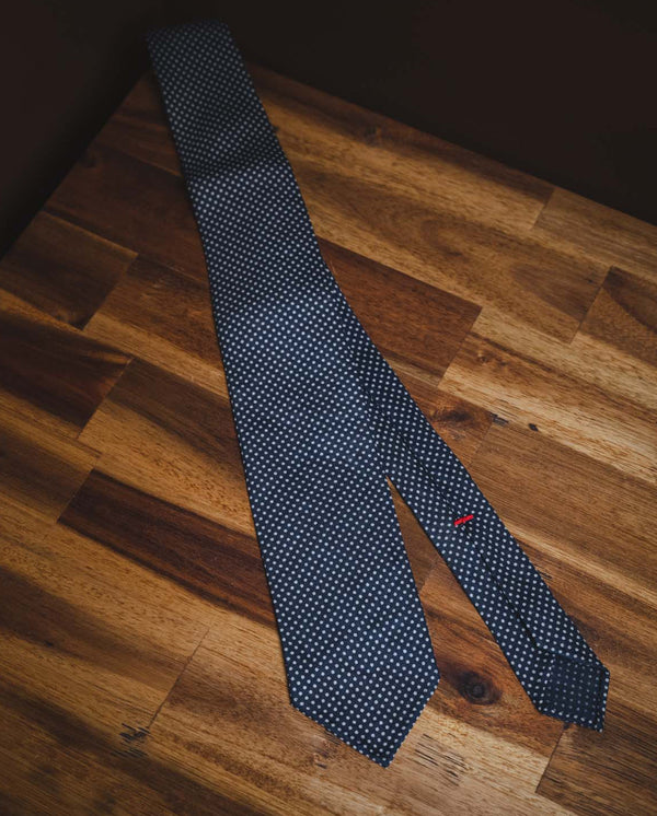 KJ Linen Polka Dot Tie - Dark Blue
