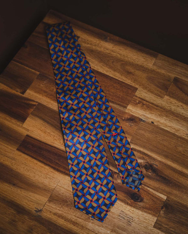 KJ Geometric Silk Tie - Multi coloured