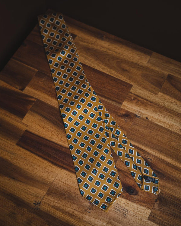 KJ Silk Diamond Tie - Gold