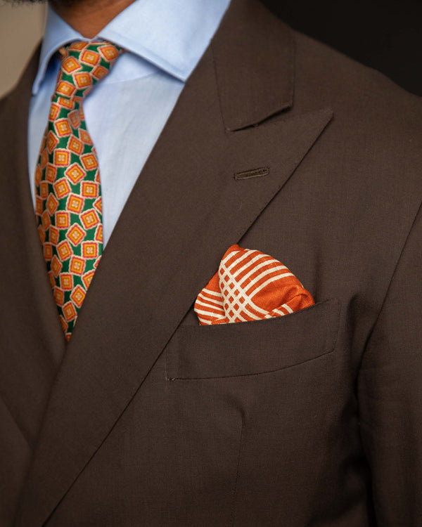 Linen Pocket Square -Orange & White